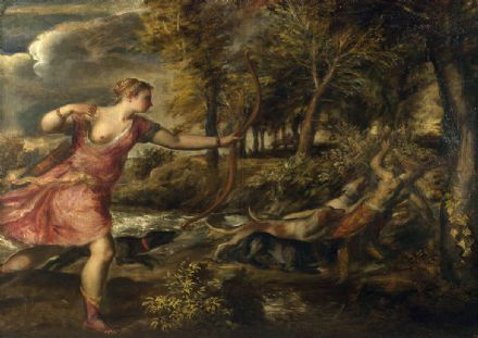 Titian (Tiziano Vecellio): The Death of Actaeon. Mythology Fine Art Print.  (001956)